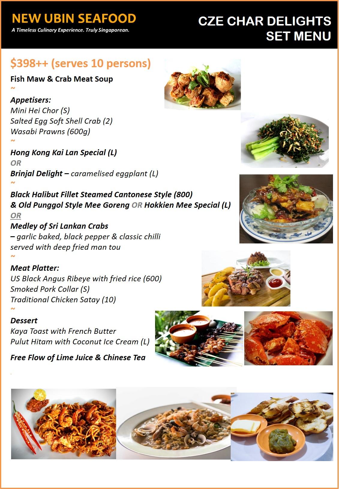 New ubin seafood menu for Boston fish supreme menu