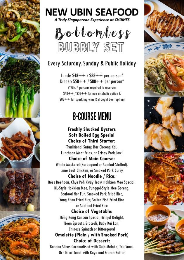 CHIJMES Bubbly Set menu A5 standee